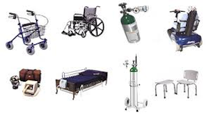 Image displaying various medical equipment including walker, wheelchair, oxygen tanks, hospital bed and a shower bench
