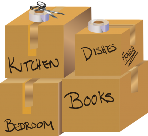 Clipart of four cardboard moving boxes