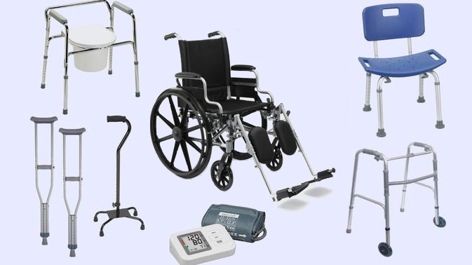 Photo showing a shower bench, wheelchair, cane, walker, and blood pressure machine